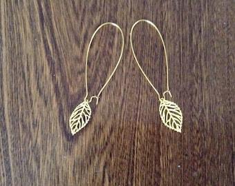 Earrings Gold feather pattern