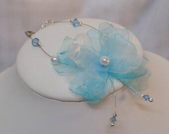 "Wedding bridal flower organza and turquoise swarovski ""Crystal"" bracelet"