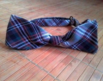 White/Green/Brown/Orange/Teal Tartan Bow Tie | Adjustable Self-Tie
