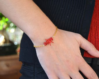 Coral sailor Style gold plated bracelet