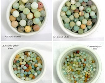 AMAZONITE GIVREES beads natural genuine 4mm, 6mm, 8mm, 10mm