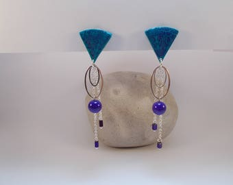 in shades of blue and purple clip earrings