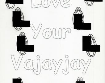 Love your VaJayJay Vagina Adult Coloring Page X-rated Funny Bachelorette Party Dirty Fun Color