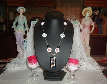 Diamonds and dots pendant necklace