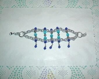 Double bracelet with aluminum chain necklace blue beads