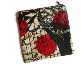 Makeup Bag, Cosmetics Pouch, Small Toiletries Purse, Black and Red African Print, Fully Lined, OOAK (One Of A Kind)