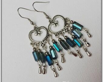 Earrings beads of glass, fringe, multi-row, blue