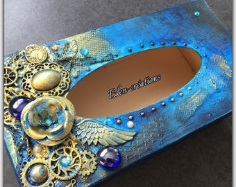 Box with handkerchiefs in wood, turquoise, gold, precious, mixed media flower, reliefs