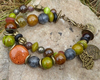 Bracelet Bohemian ethnic lands of Africa rust, olive green and Brown, 2 rows, double twist