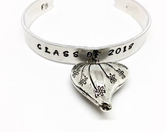 Class of 2018 Charm Bracelet - High School Graduation, Heart Charm