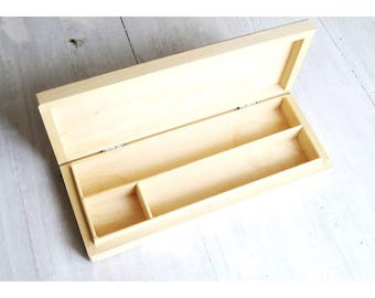 Wood pencil box blank 3 compartments