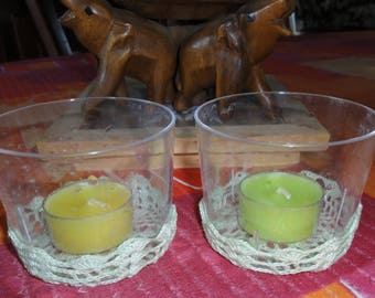 SET of two PHOSPHORES yellow candle and a green candle - home crochet - new