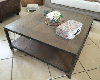 Industrial furniture gray solid oak coffee table