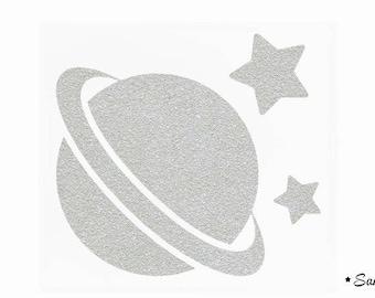 planet space stars silver paillete fusible applique