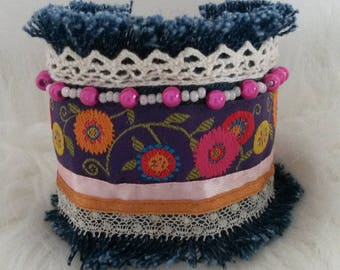 jeans, ribbons and lace Cuff Bracelet