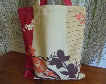 Tote bag made of printed Japanese fabric: off white / red/orange/khaki and Brown. Shopping bag, tote bag.