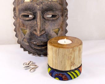 Wooden candle holder of recycling for heater flat, sanded, varnish, decorated with orange wax fabric