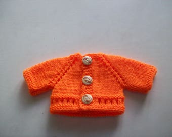 clothing, compatible with babies: Cardigan vest for 32 33 cm dolls by hand (orange)