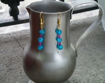 turquoise and purple clip earrings gold