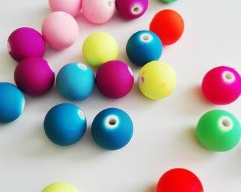 Set of 70 beads acrylic texture Bubblegum color neon multicolor o14mm