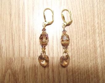 Brown Swarovski crystal earrings.