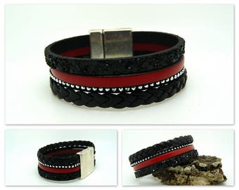 Red and black leather Cuff Bracelet