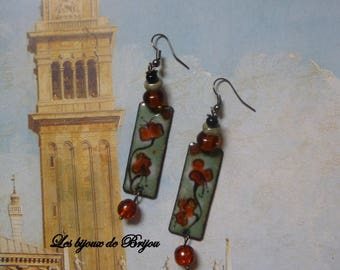 Ethnic earrings enameled copper, glass beads, Czech glass beads