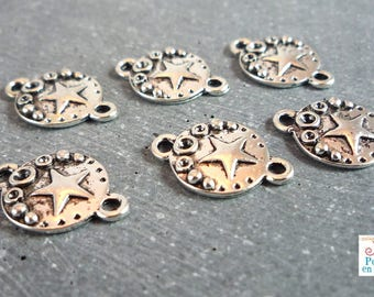 Star 10 connectors, silver, 2 rings, 16X11mm (co38)