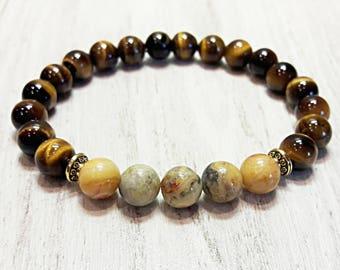 spiritual bracelet stress relief bracelet healing reiki bracelet anti anxiety crystal jewelry protection tiger eye & agate bracelet 8 mm