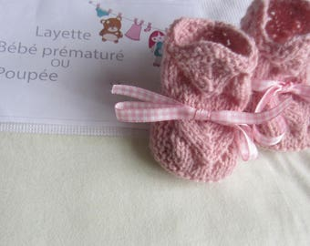 "Clothes for doll, doll or Preemie 40 has 45 cms - hand made slippers knitting pattern ""old rose"" color"
