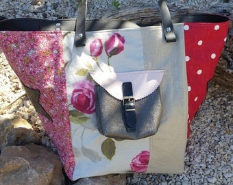 Spring Tote with polka dots and flowers