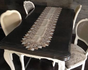 Table runner 40 x 180 cm embroidery beige ivory Brown Shabby Chic