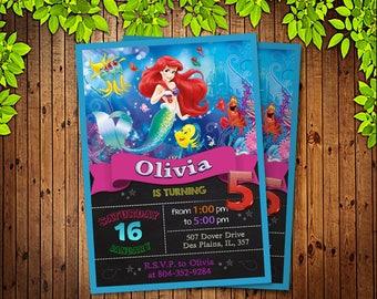 Mermaid Ariel Invitation. Little Mermaid Invitation. Diy Ariel Birthday Party. Mermaid Birthday Party. DIGITAL FILE.