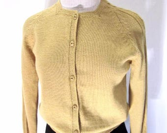 S 60s Gold Mustard Sweater Cardigan Button Down Knit Jumper Twiggy Mid Century MCM Japan Tokyo Small