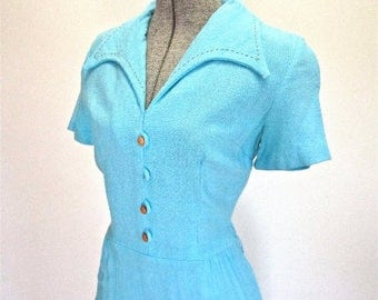 S 60s Linen Turquoise Blue Dress Day Mid Century Mad Men Mod Casual Day Dress Small