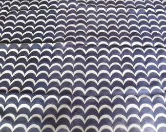 FABRIC ELASTANE WAVE PATTERN BLUE AND WHITE