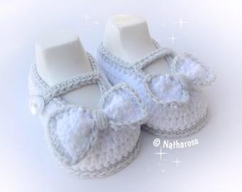 Chaussons bébé fille ballerines blanches à nœuds