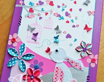 Table decoration for child rabbits and soaring butterflies