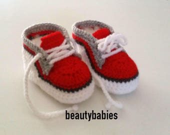 Red and white sneakers size 6-9 months