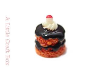 "3 cabochons ""chocolate cake Strawberry kawaii"""