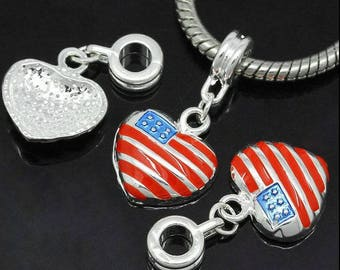 3 silver pendants hearts USA flags with rings bails