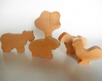 Wooden farm animals