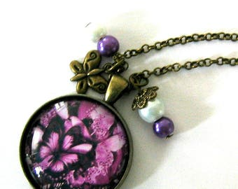 Necklace jewel cabochon 30mm * Butterfly purple *.