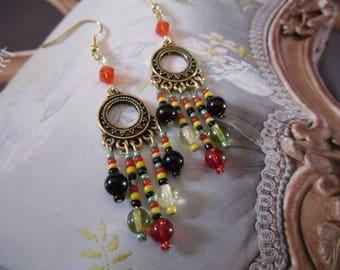 Rasta hoop earrings in gold filled metal