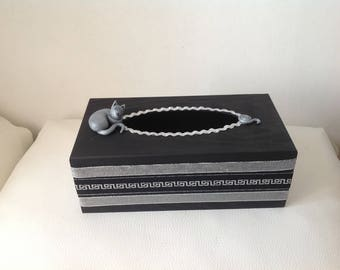 Cat... Black and Silver tissue box