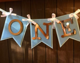 One Birthday banner personalized, (name) is one, first birthday, blue & silver/metallic