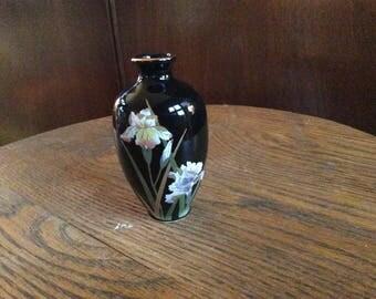 Vintage Otagirl Black Crowned Iris Vase