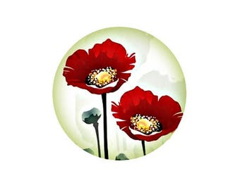1 cabochon 30 mm glass poppy Collection - 30 mm