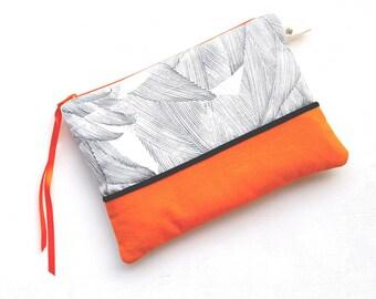 Case / pouch versatile cotton and faux leather zipper 20cm