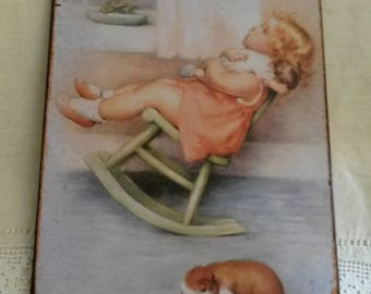 Vintage metal plate / girl and her doll / romantic wall decor